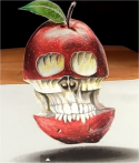 3D Art: Levitating 3D Apple Skull